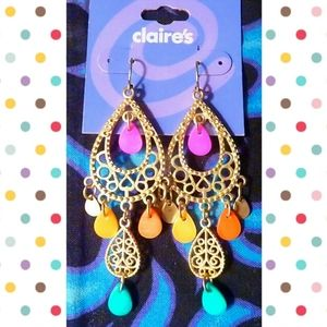 Claire's Gold/Multiclr Chandelier Dangle Earrings